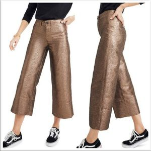 Madewell Langford Metallic Crop Wide Leg Pants NWT